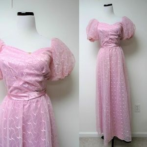 VTG 80s puffy sleeves prom dress